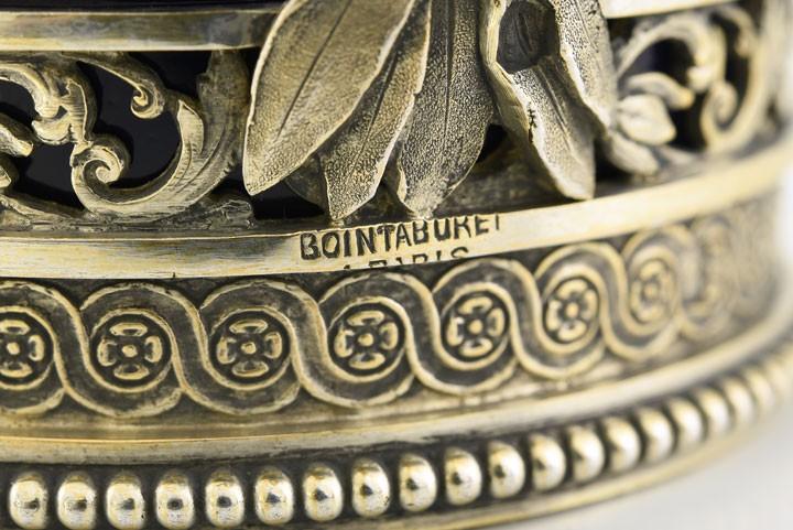 6 filiżanek Limoges w srebrnych, złoconych koszyczkach, Paryż