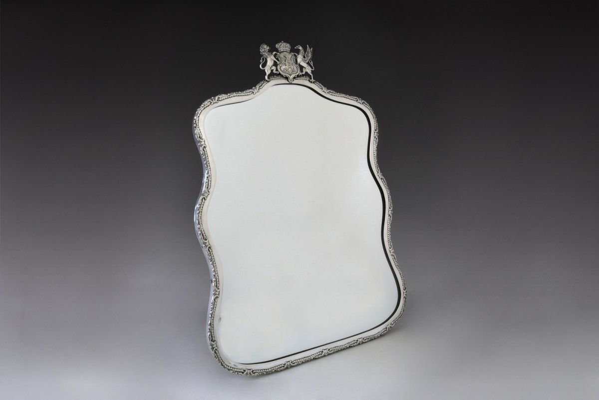 Antique table or vanity glass mirror in silver frame, Warsaw